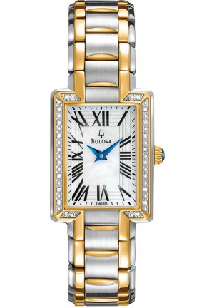 BULOVA Women's Diamond Accent Two Tone Stainless Steel Bracelet 22mm
