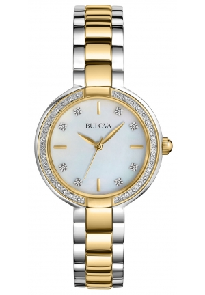 BULOVA Diamond Mother of Pearl Dial Two-Tone Watch 98R172
