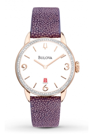 BULOVA Diamonds Rose Gold Tone Stainless Steel Case with Leather Strap 32mm