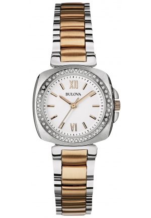 Bulova Women's Diamond Bezel Two Tone Bracelet Watch 30 mm