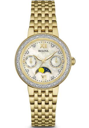 Bulova Lady's Diamond Accented MOP Dial Day Date Watch