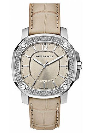 Burberry The Britain Diamond Bezel Alligator Strap Watch 38mm