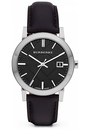 Burberry Black Leather Strap Watch 38mm