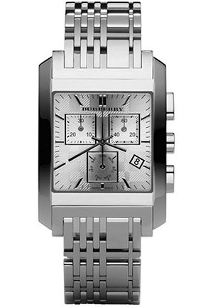 Burberry Men's Square Silver Chronograph Dial Watch 38mm,
