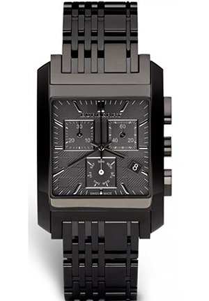 Burberry Men's Square Grey Chronograph Dial Black Bracelet Watch  38mm