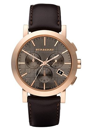 Burberry Men's Herringbone Brown Leather Strap Watch 40mm,