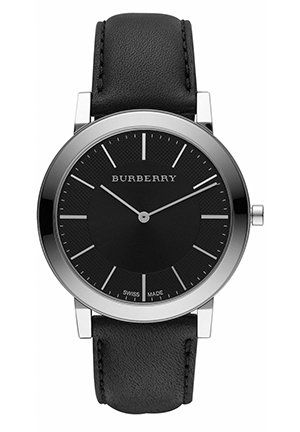 Burberry Men's Slim Black Dial Black Leather Strap Quartz Watch  40mm