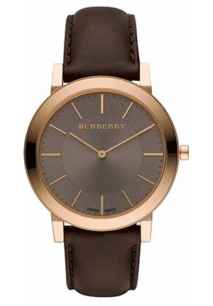 Burberry Men's Slim Brown Dial Brown Leather Strap Watch  40mm