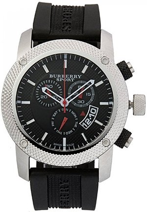 Burberry Men's Endurance Black Chronograph Dial Rubber Strap Watch 45mm