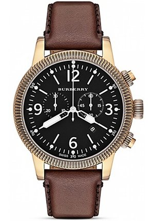 Leather Strap Chrono Watch, 45mm