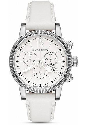 The Utilitarian Watch with White Leather Strap, 42mm
