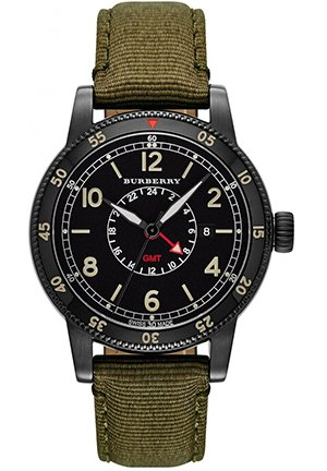 Men's Swiss GMT Green Nylon Strap Watch 42mm