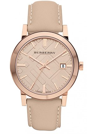 The City Women's Large Check Tan Leather Strap Watch 38mm