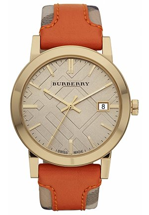 Women's Swiss Fabric and Smooth Orange Leather Strap  38mm,