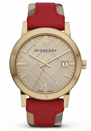 Women's Swiss Haymarket Check and Red Leather Strap 38mm BU9017