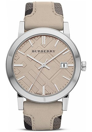 Silver Watch with Tan Check Strap, 38mm