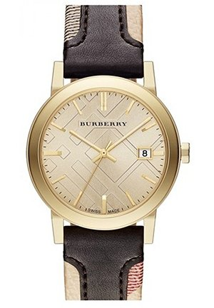 The City Gold-Tone Leather Mens Watch 38mm
