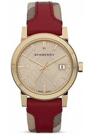 Burberry Red Leather & Haymarket Check Strap Watch, 34mm