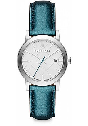 Stainless Steel Leather Strap Watch/Blue 34mm