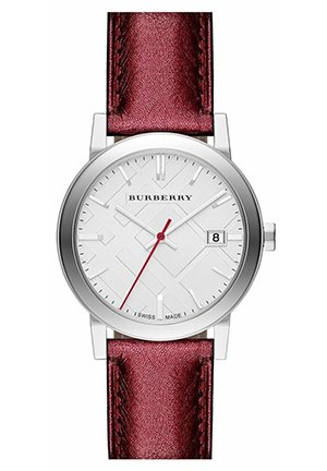 Burberry Round Metallic Leather Strap Watch 34mm