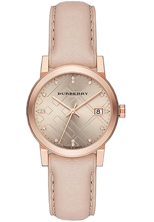 Rose Dial Rose Gold Ion-plated Ladies Watch 34mm