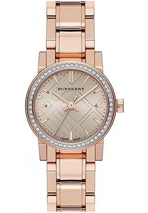 Rose Dial Diamond-set Bezel Rose Gold-tone Ladies Watch , 26mm