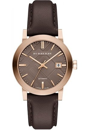 The City Unisex Swiss Automatic Chocolate Leather Strap Watch 38mm