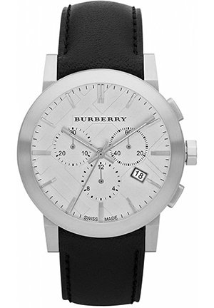 Men's Swiss Chronograph Black Leather Strap 42mm
