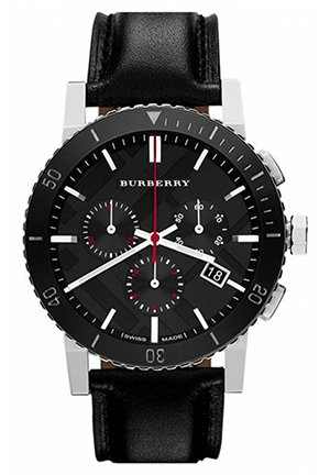 Burberry Black Dial Chronograph Black Leather Mens Watch  42mm