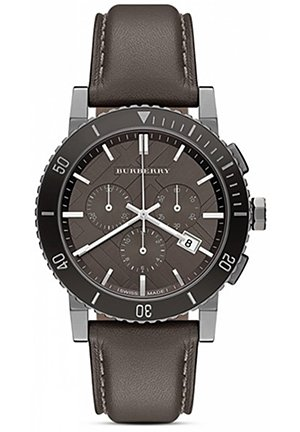 Grey Dial Grey Leather Mens Watch 42mm