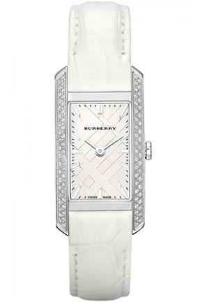 Women's London Diamond White Alligator Silver Dial Watch 20mm