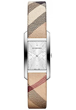 Rectangular Stainless Steel Check Strap Watch 26mm x 20mm