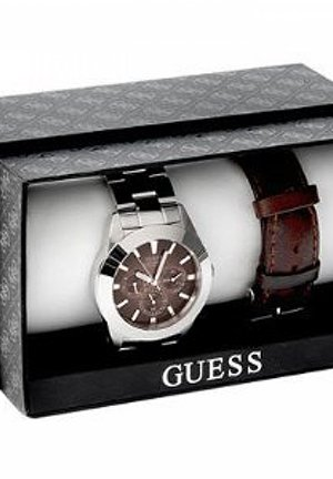Guess Stainless Steel & Leather Watch Box Set 40mm