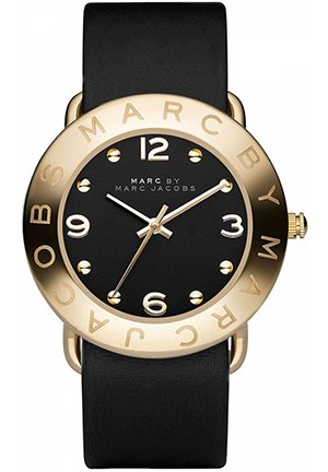 Amy Black Dial Gold Ion-plated Bezel Ladies Watch 36mm