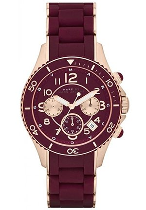 Rock Chronograph Maroon Dial Maroon Rubber Ladies Watch 40mm