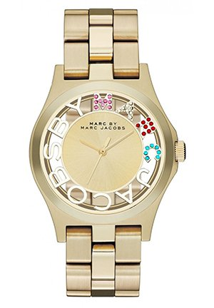 Unisex Henry Goldtone Skeleton Stainless Steel Watch 40MM