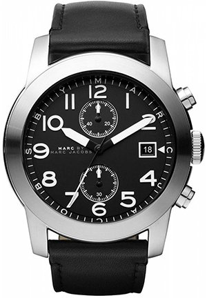 Men's Larry Chronograph Black Leather Strap 46mm MBM5033