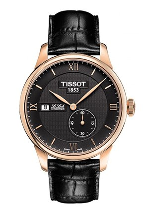 TISSOT Le Locle Small Second Men's Automatic - Rose Gold Case and Black Leather Strap , T0064283605800 39.3mm