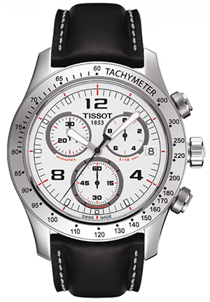 Chronograph White Dial Stainless Steel Mens Watch, T0394171603702 42.5mm
