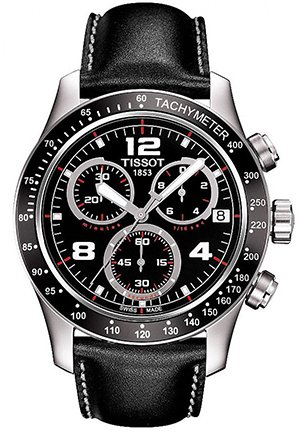 men's v 8 black leather strap chronograph dial watch , T0394171605702 42.5mm