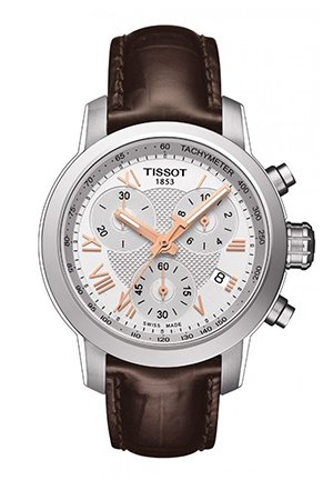 PRC 200 Women's Quartz Chrono Watch - Silver Dial With Brown Leather Strap , T0552171603302 35mm