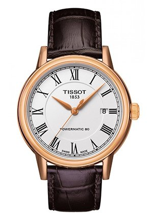 Carson Men's Automatic Rose Gold PVD Classic Watch - White Roman Dial and Brown Leather Strap T0854073601300 40mm