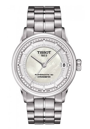 Luxury Automatic Lady COSC White Mother-of-Pearl Watch With Diamonds T0862081111600, 33mm
