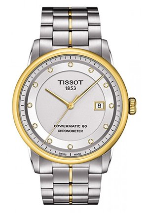Luxury Automatic COSC Men's Silver Watch With Diamonds 41mm, T0864082203600