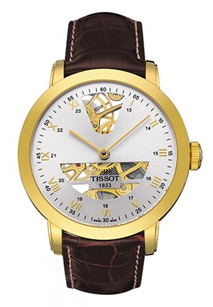 Sculpture Line Men's Silver Yellow Gold Mechanical Gold Watch T71347133, 42.5mm