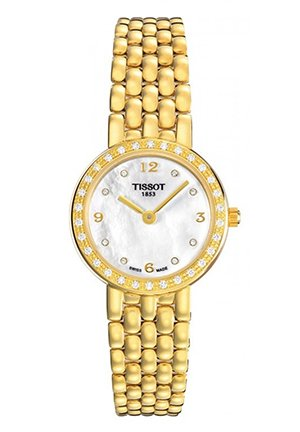 Caliente Medium Women's 18K Yellow Gold White Mother of Pearl Diamonds Quartz Classic Watch T74311676, 24.5mm