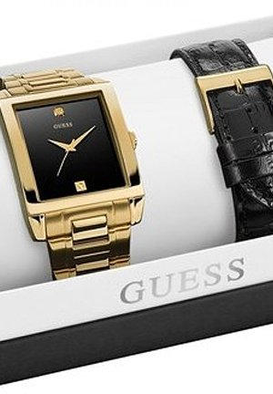 GUESS Men's Interchangeable Diamond Accent & Black Dial 36mm