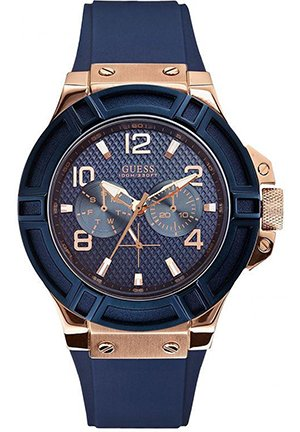 GUESS Men's Rigor Blue Silcone Casual Sport Watch 45mm