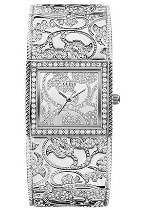 GUESS Women's Silver-Tone Opulence Bangle Watch 23mm