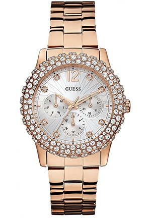 GUESS Women's Dazzler Rose Gold-Tone Bracelet Watch 39mm